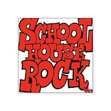 "3-schoolhouserock_red Square Sticker 3"" x 3"""