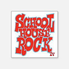 "2-schoolhouserock_red_REVER Square Sticker 3"" x 3"""