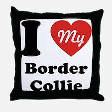 I Heart My Border Collie Throw Pillow