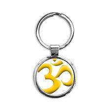 YELLOW OM Round Keychain