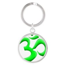 GREEN OM Round Keychain