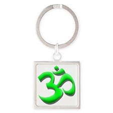 GREEN OM Square Keychain