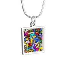 Food Fight Silver Square Necklace