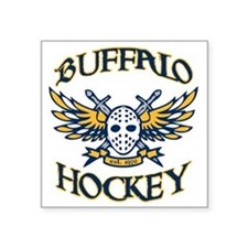 "BuffHockeyWings_Wht Square Sticker 3"" x 3"""