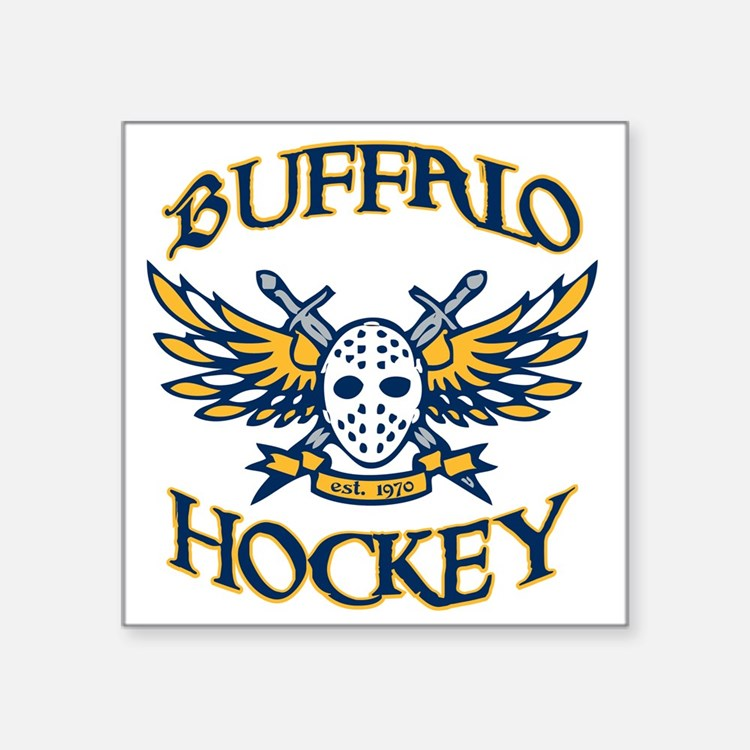 "BuffHockeyWings_Wht Square Sticker 3"" x 3"""