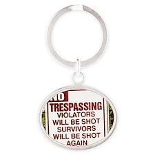 notrespassing02 Oval Keychain