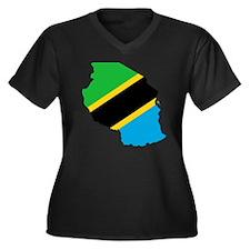 TZ flag clip Women's Plus Size Dark V-Neck T-Shirt