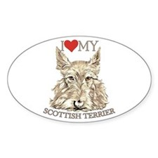 Wheaten Scottish Terrier Love My Oval Decal