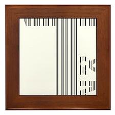T Logo - Black Stripes Framed Tile