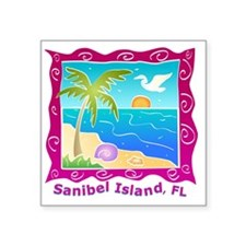 "Sanibel-Island-Colors Square Sticker 3"" x 3"""