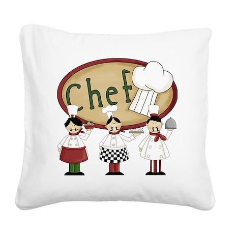 Three Chefs Square Canvas Pillow