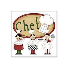 """Three Chefs Square Sticker 3"""" x 3"""""""