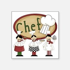 "Three Chefs Square Sticker 3"" x 3"""