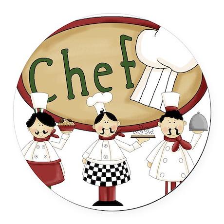 Three Chefs Round Car Magnet