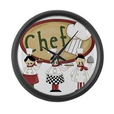 Three Chefs Large Wall Clock