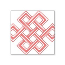 """Endless_Knot_Coral Square Sticker 3"""" x 3"""""""