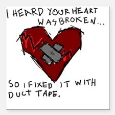 "Good Broken Heart Square Car Magnet 3"" x 3"""