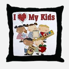 I Heart My Kids Throw Pillow