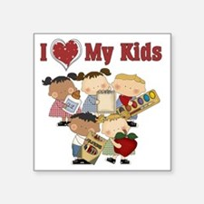 "I Heart My Kids Square Sticker 3"" x 3"""