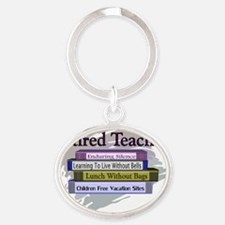 Retired Teacher Oval Keychain