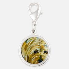 terrier-misu Silver Round Charm