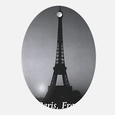 Eiffel Tower Black n White Oval Ornament