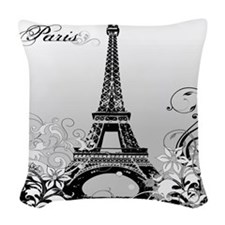 Eiffel Tower Paris B/W Woven Throw Pillow