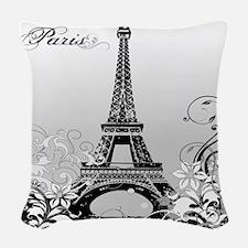 Eiffel Tower Paris B/W Woven Throw Pillow