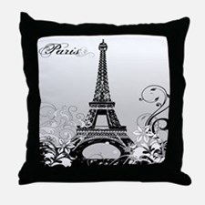 Eiffel Tower Paris B/W Throw Pillow