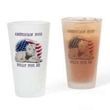 Amerian Flag Dog, Bully for Me Drinking Glass