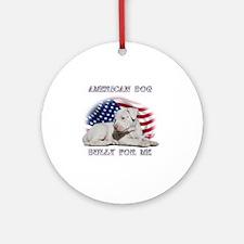 Amerian Flag Dog, Bully for Me Round Ornament