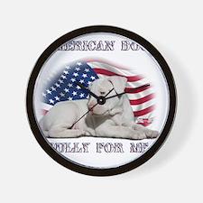 Amerian Flag Dog, Bully for Me Wall Clock