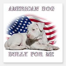 "Amerian Flag Dog, Bully  Square Car Magnet 3"" x 3"""