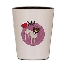 love my girl jack russell terrier Shot Glass