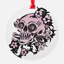Pink Tattoo Skull Ornament