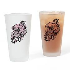 Pink Tattoo Skull Drinking Glass