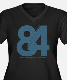nineteen84Fa Women's Plus Size Dark V-Neck T-Shirt