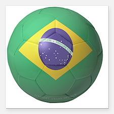 """Brazil Soccer 2010 Square Car Magnet 3"""" x 3"""""""