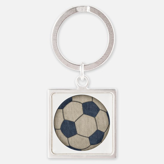 Fabric Soccer Square Keychain