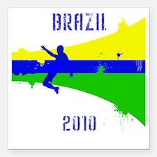 "Brazil copy Square Car Magnet 3"" x 3"""