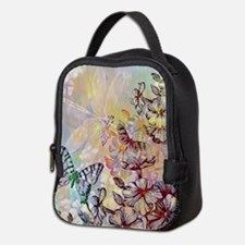 Bright flowers and butterfly Neoprene Lunch Bag