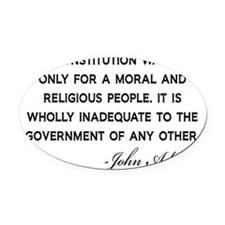 John-Adams-Constitution-(white-shi Oval Car Magnet