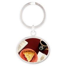 cherry pie Oval Keychain