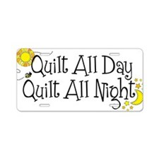 QuiltDayNight2 Aluminum License Plate