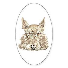 Wheaten Scottish Terrier Oval Decal