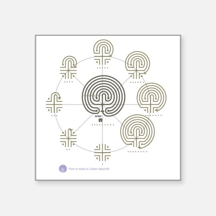 "2-Cretan Labyrinth drawing Square Sticker 3"" x 3"""