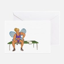 2-Muscle Bound Fairy Remembers Black Greeting Card
