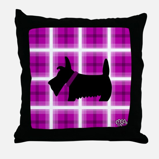 Scottie Purple White copy Throw Pillow