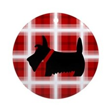 Scottie Red White copy Round Ornament