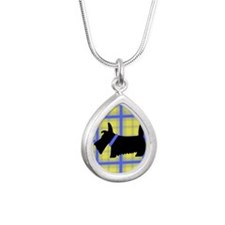 Scottie Blue Yellow Silver Teardrop Necklace